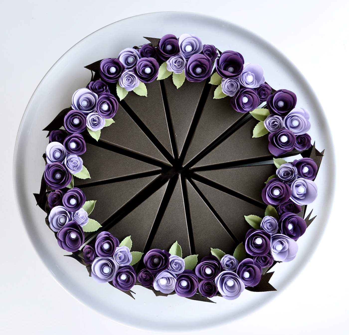 Paper Chocolate Cake Slice Favor Box With Purple Flowers Wedding Party 1 Whole 12 Slices